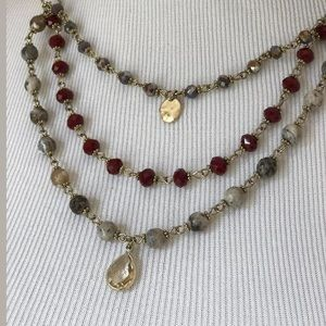 Triple Strand Necklace Lavender Red Gray